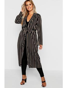 Plus Woven Stripe Tie Detail Duster by Boohoo