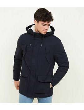 Navy Cotton Blend Parka by New Look