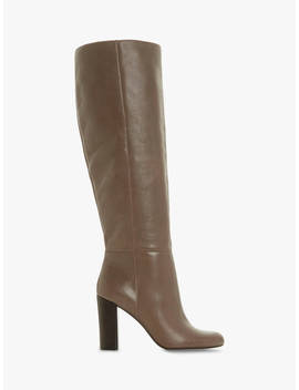 Dune Simonne Block Heel Knee High Boots, Taupe Leather by Dune