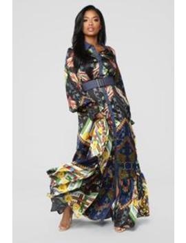 Flow With Me Satin Dress   Navy by Fashion Nova