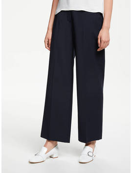 John Lewis & Partners Wide Leg Tailored Trousers, Navy by John Lewis & Partners