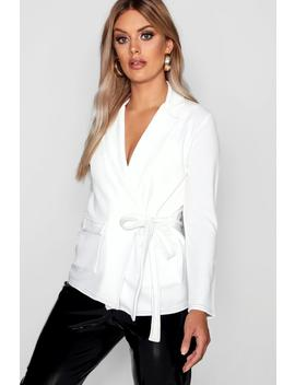 Plus Crepe Contrast Stitch Blazer by Boohoo
