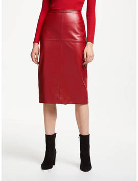 John Lewis & Partners Leather Pencil Skirt, Red by John Lewis & Partners