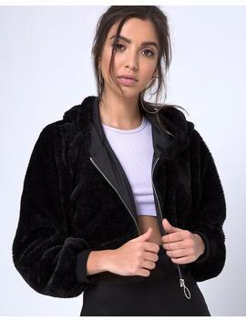 Bomb Hoody In Fur Zip Black By Motel by Motel