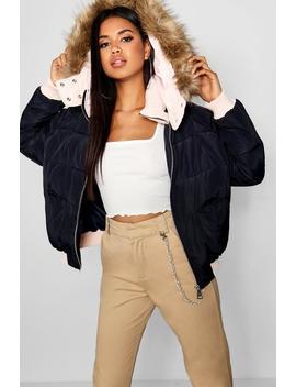 Contrast Hood Crop Puffer Jacket by Boohoo