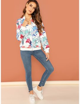 Zip Front Tropical Jacket by Shein