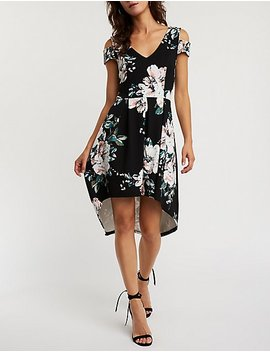 Floral Cold Shoulder Hi Low Dress by Charlotte Russe