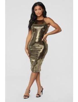 Disco Fever Midi Dress   Gold by Fashion Nova