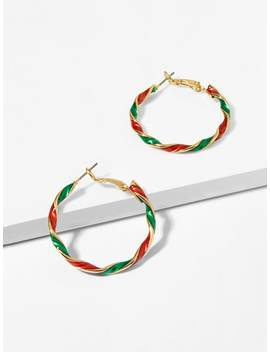 Two Tone Spiral Hoop Earrings by Sheinside