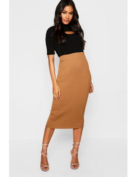 Rib Knitted Midi Skirt by Boohoo
