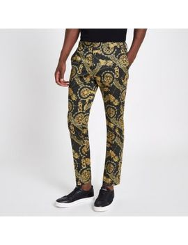 Black Leopard Printed Skinny Smart Trousers by River Island