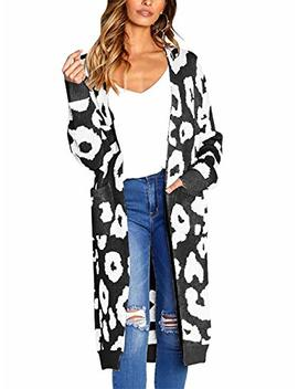 Btfbm Women Long Sleeve Open Front Leopard Knit Long Cardigan Casual Print Knitted Maxi Sweater Coat Outwear With Pockets by Btfbm
