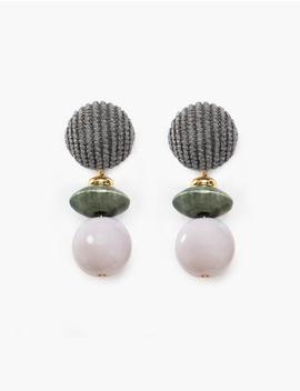 Lavender Bead Drop Earrings by Pixie Market