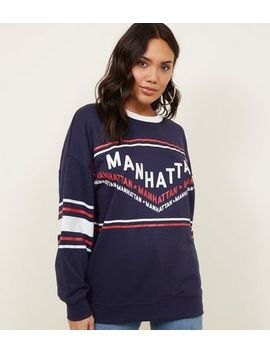 Navy Manhattan Chevron Oversized Sweatshirt by New Look