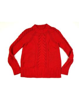 Ann Taylor Loft Chunky Mock Neck Cable Knit Sweater Red Size Xs Wool Blend by Loft