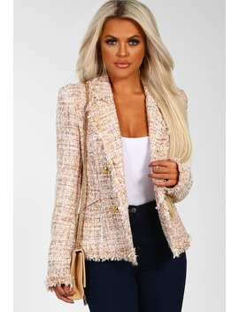 Mon Belle Nude Tweed Blazer by Pink Boutique