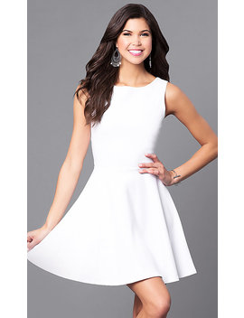 Sleeveless Short White Party Dress With Back Cut Outs by Promgirl