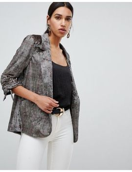 River Island Velvet Check Blazer by River Island