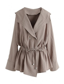 Go My Own Way Hi Lo Hooded Coat In Tan by Chicwish