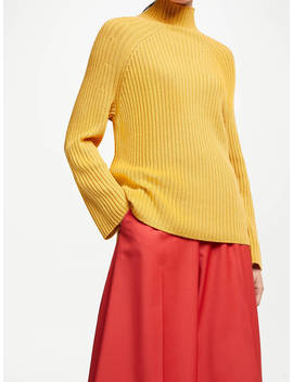 John Lewis & Partners Rib Funnel Neck Sweater, Mustard by John Lewis & Partners