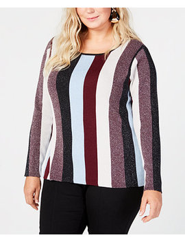 I.N.C. Plus Size Striped Sweater, Created For Macy's by Inc International Concepts