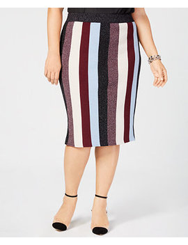 I.N.C. Plus Size Metallic Striped Skirt, Created For Macy's by Inc International Concepts