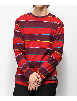 Empyre Recon Dark Red Striped Long Sleeve T Shirt by Empyre