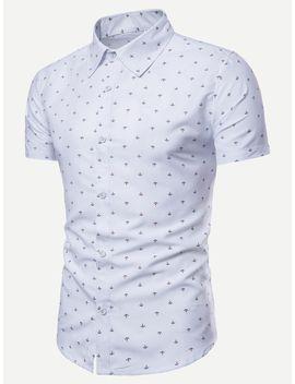 Men Anchor Print Curved Hem Shirt by Shein