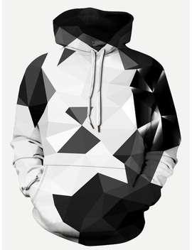 Men 3 D Geo Print Hooded Sweatshirt by Shein