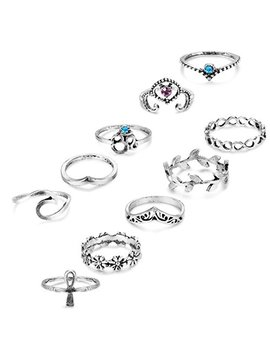 Udalyn 5 11 Pcs Vintage Knuckle Ring Set Sun Moon Flower Nail Midi Ring Set For Women Girl by Udalyn