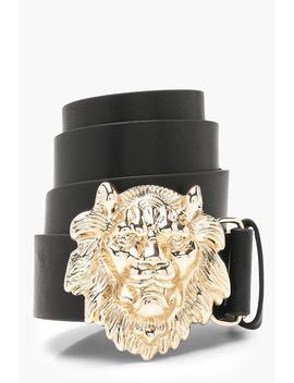 Lion Head Buckle Boyfriend Belt by Boohoo
