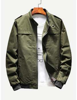 Men Epaulettes Multi Pocket Jacket by Shein