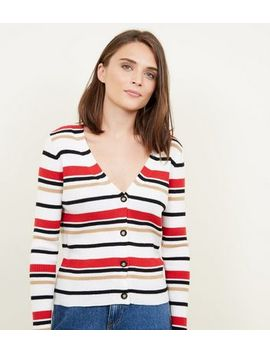White Multi Stripe Ribbed Cardigan by New Look