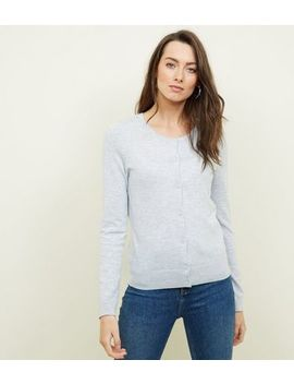 Pale Grey Crew Neck Cardigan by New Look