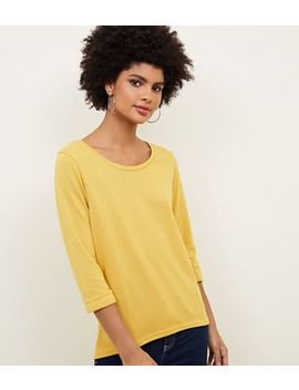 Yellow 3/4 Sleeve Fine Knit Top by New Look
