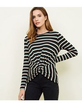 Green Metallic Stripe Twist Front Top by New Look