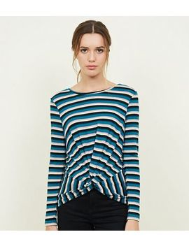Blue Fine Knit Stripe Twist Front Top by New Look
