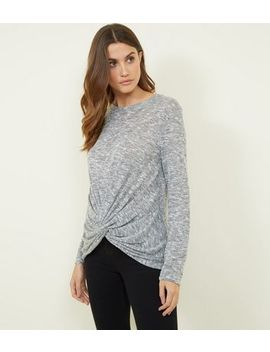 Dark Grey Fine Knit Loose Twist Front Top by New Look