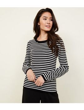 Black Stripe Crew Neck Jumper by New Look
