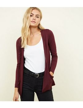Burgundy Pocket Side Longline Cardigan by New Look