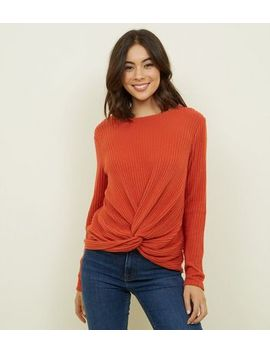 Orange Brushed Rib Twist Front Top by New Look