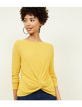 Mustard Brushed Rib Twist Front Top by New Look