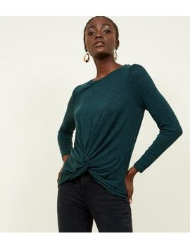 Dark Green Fine Knit Twist Front Top by New Look
