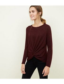 Burgundy Fine Knit Twist Front Top by New Look