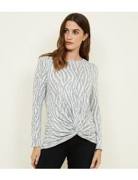 Light Grey Zebra Fine Knit Twist Front Top by New Look