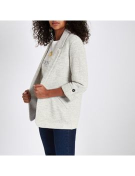 Cream Jersey Blazer by River Island