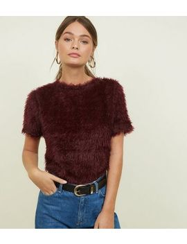 Burgrundy Fluffy Knit Short Sleeve Top by New Look