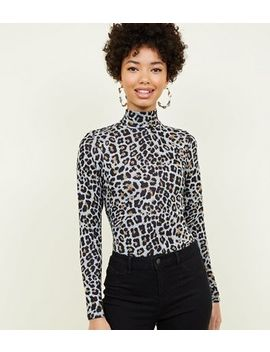 Grey Leopard Print Fine Knit Bodysuit by New Look