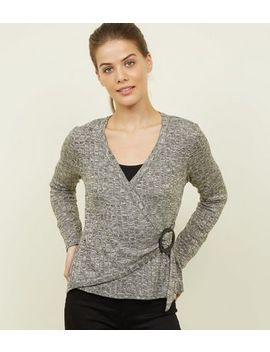 Grey Marl Fine Knit  Buckle Side Wrap Top by New Look