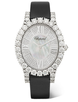 L'heure Du Diamant 34.10mm 18 Karat White Gold, Satin, Diamond And Mother Of Pearl Watch by Chopard